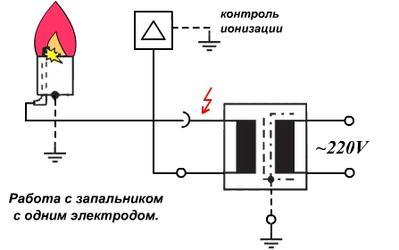Схема с одним электродом
